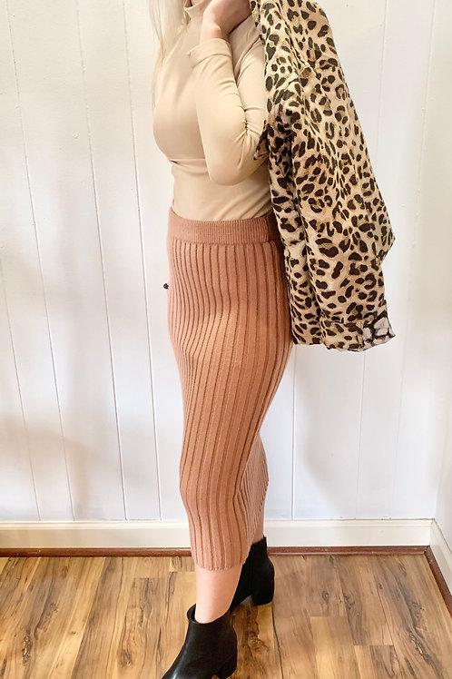 She + Sky Ribbed Sweater Pencil Skirt