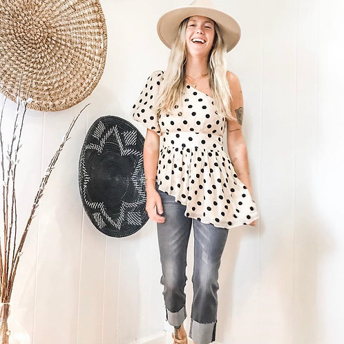 Asymmetrical Polka-Dot Top