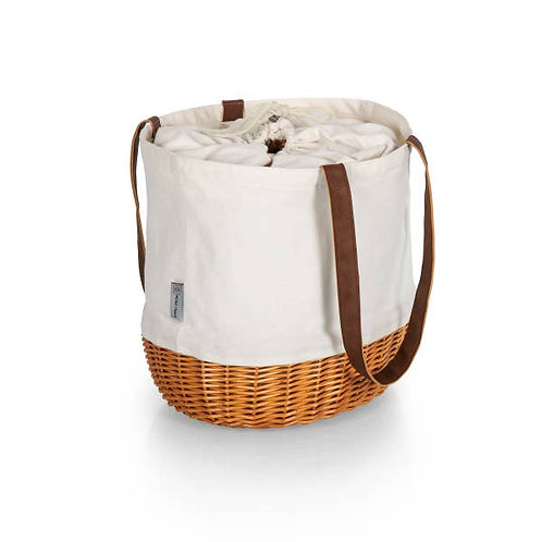 Coronado Canvas& Willow Basket Tote