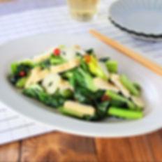 火を使わない!お揚げと小松菜のにんにく塩オイル蒸し.jpg