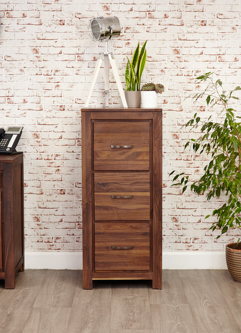 Mayan Walnut 3 Drawer Filing Cabinet | Rhiwbina Furniture | Cardiff |  Online Furniture Retailer