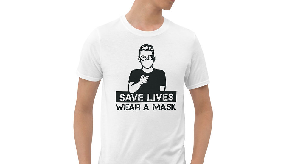 Pointing Finger - Save Lives/Wear A Mask (Unisex T-Shirt)