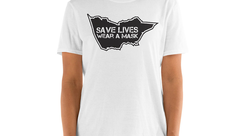 Victoria - Save Lives/Wear A Mask - Black Design (Unisex T-Shirt)