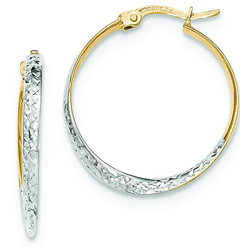 14-Karat Diamond Cut Gleaming Hoops
