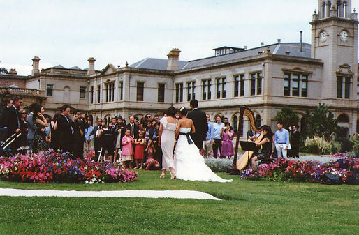 Harpist, harp music at Werribee Mansion garden wedding