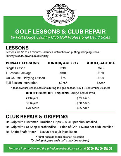 Fort Dodge Country Club Golf Lessons and Club Repair