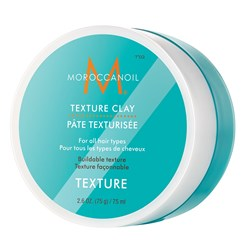 Moroccanoil Texture Clay is a workable clay that provides piecey, roughed-up texture for natural looks with a matte finish and strong hold.