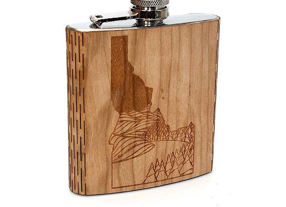Idaho Landscape 6 Oz. Wooden Flask - Art by Ben McKenzie