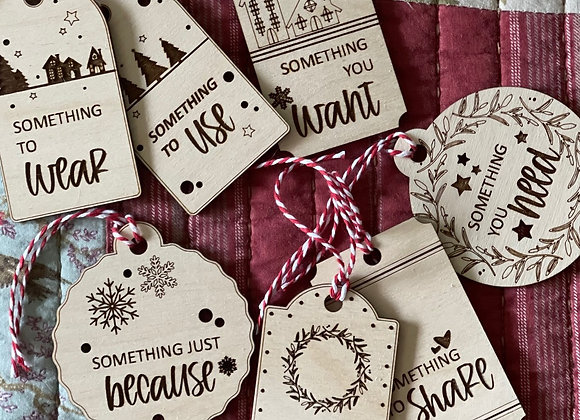 Wooden Gift Tags | Need, Want, Use, Read, Wear, Just Because, & Share
