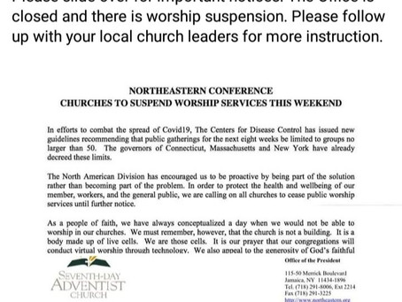 NEC office closed. Worship services suspended!