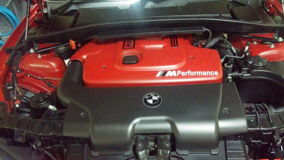 Engine cover Plasti dipped in red