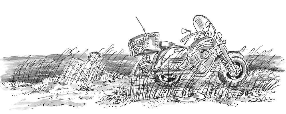Benoît, Simon et la moto