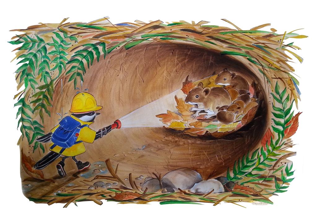 BecFuté dans le tunnel d'herbe