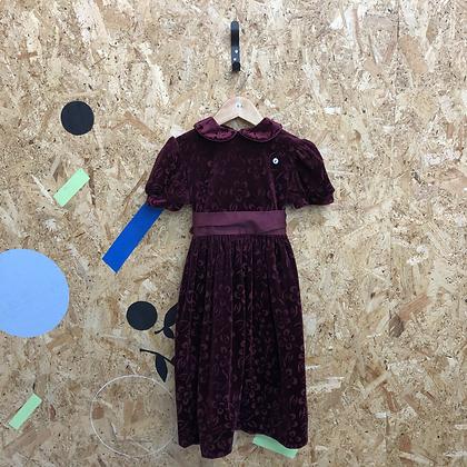 Girls  purple velvet dress with ribbon tie age 6