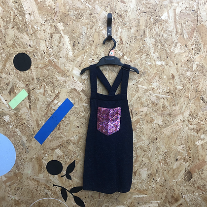Dress - Navy with sequin pocket - Age 5