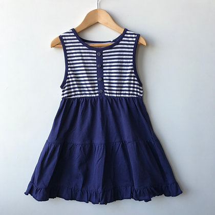 Dress - Navy With Stripes - Age 6