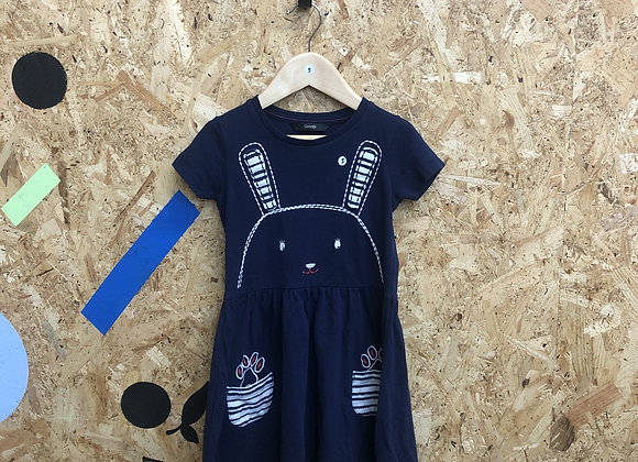 Dress - Navy with bunny - Age 5