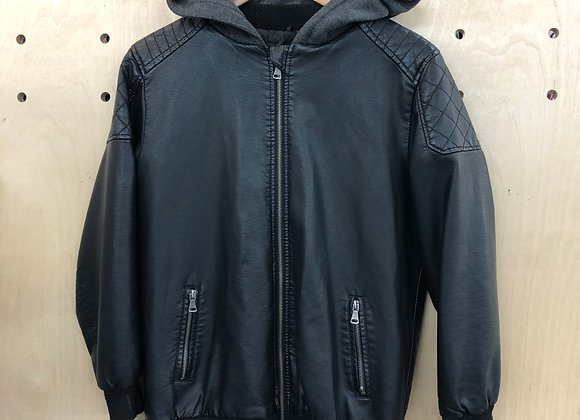 Jacket - Leather with jersey hood - Age 12