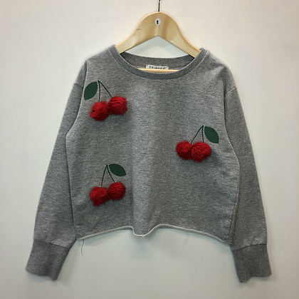 Jumper - Grey with cherries - Age 8