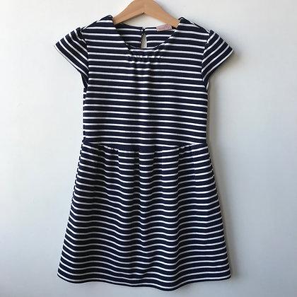 Dress - Navy Stipes - Age 6