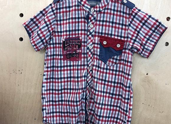 Shirt - Plaid Red Navy - Age 7