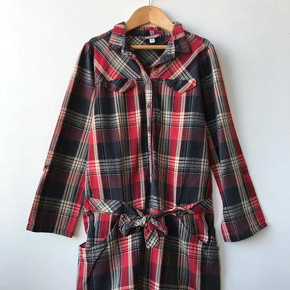 Dress - Shirt Style Tartan Pattern - Age 10