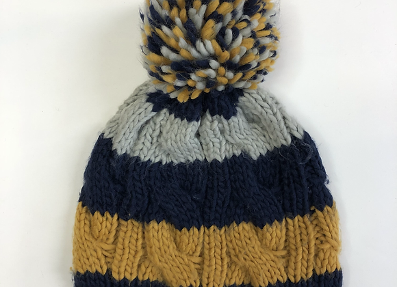 Bobble Hat - Stripy Knit