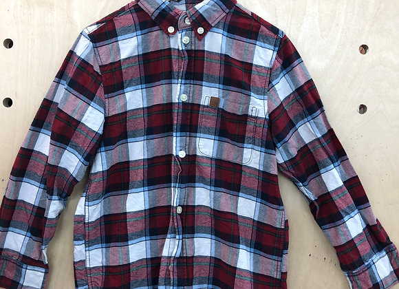 Shirt - Plaid Burgundy White - Age 6