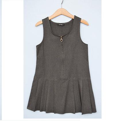 Pinafore - Uniform - Grey with heart zip