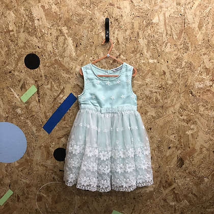 Age 5 Duck Egg Blue and White Flower Embroidered Dress