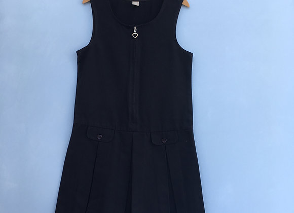 Pinafore - Navy with heart