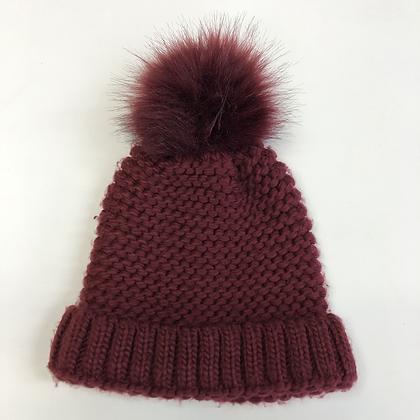 Bobble Hat - Burgundy Knit