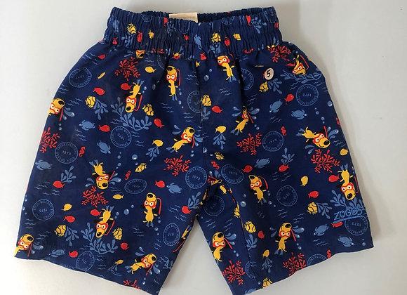 Boys blue and yellow dog print swim trunks age 5