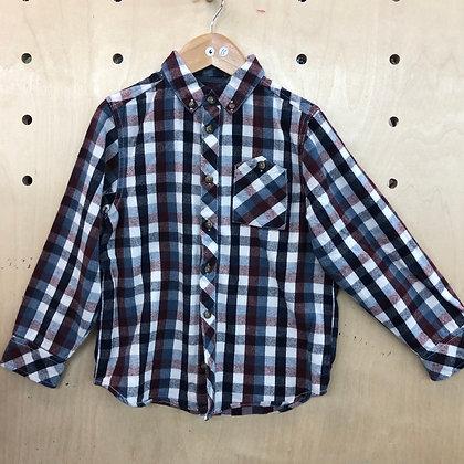 Shirt - Plaid Brown Black White - Age 6