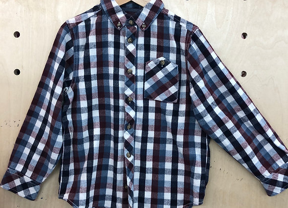 Shirt - Plaid Brown Black White - Age 6