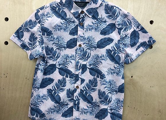 Shirt - Leaf Feather Blue White - Age 6