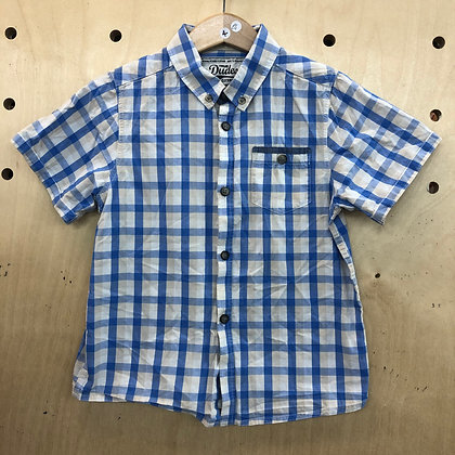 Shirt - True Dudes Plaid White Blue - Age 4
