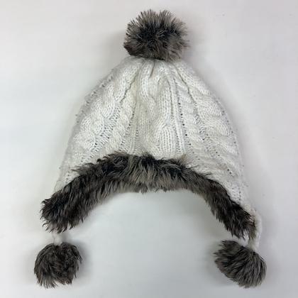 Bobble Hat - White Knit