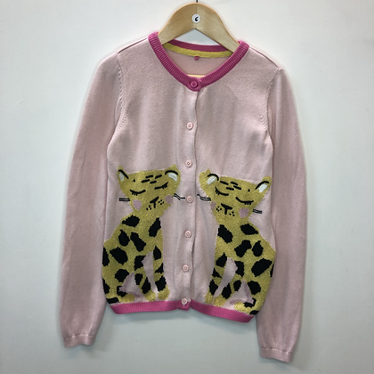 Cardigan - Pink with leopards - Age 6