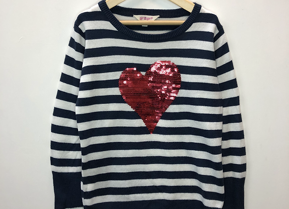 Jumper -Stripy with sequined heart - Age 6