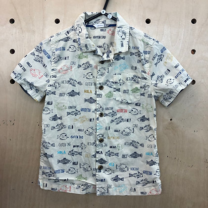 Shirt - White with Fish Pattern - Age 8