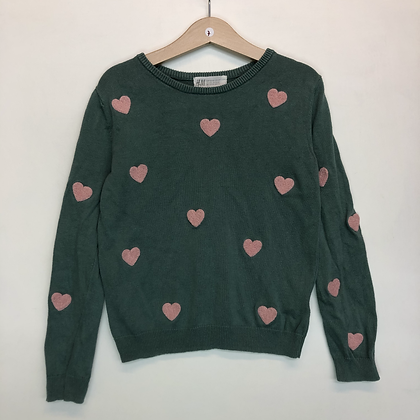 Jumper - Green with hearts - Age 7