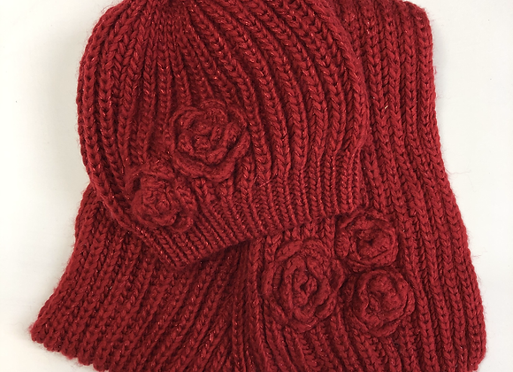 Hat & Scarf Set - Red Knit