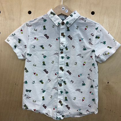 Shirt - White Tropical Print - Age 4