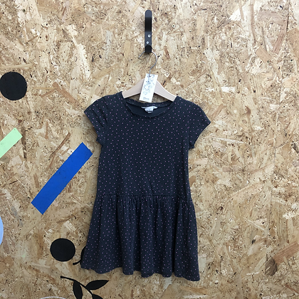 Dress - Age 5 - Black with Pink Dots