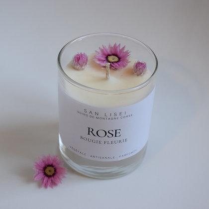 Bougie fleurie ROSE