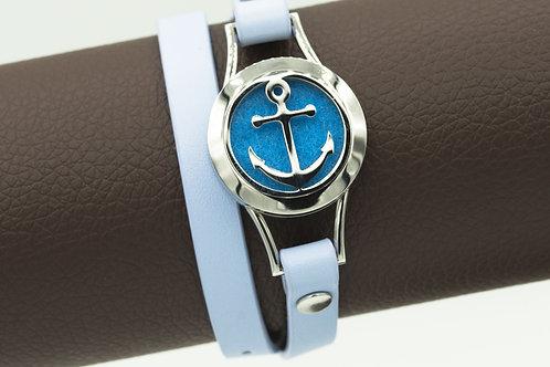 Bratara din piele bleu cu difuzor pentru uleiuri esentiale – model Ancora