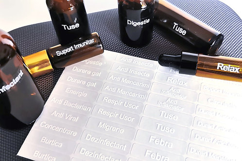 Set 40 etichete pentru amestecuri uleiuri esentiale, pretaiate, plastifiate