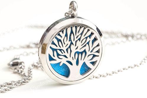 Colier si pandant aromaterapie cu difuzor uleiuri esentiale – model Copacul vietii