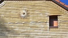 Détails de façade en tavillon, Montbovon